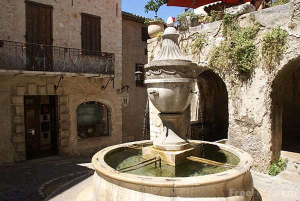Picture of the water fountain in St Paul de Vence. It was built in 1615 by Martin Melchior, a stonemason from the village.