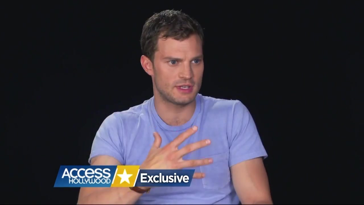 Jamie Dornan & Cast - Fifty Shades Darker BTS with Access Hollywood 076